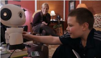孩子们与机器人阅读伙伴联系